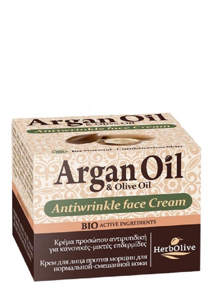 ArganOil Крем для лица против морщин для нормальной и комбинированной кожи 50 мл5200310402784Крем против морщин для нормальной и комбинированной кожи. Рекомендуется с 30 лет. Активные вещества: масло арганы, масло карите, витамин Е, которые известны своими увлажняющими, восстанавливающими и питательными свойствами. Входящий в состав экстракт витекса, согласно исследованиям, повышают выработку коллагена. Его ингредиенты устраняют морщины, восстанавливают кожу, сохраняют контур лица и придают сияние и свежесть. Косметика произведена в Греции на основе органического сырья, НЕ СОДЕРЖИТ минеральные масла, вазелин, пропиленгликоль, парабены, генетически модифицированные продукты (ГМО)