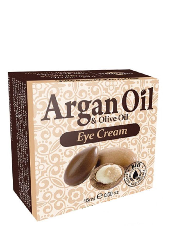 ArganOil Крем для области вокруг глаз против морщин 15 мл5200310402807Крем для кожи вокруг глаз содержит такие активные ингредиенты, как масло арганы, органическое оливковое масло, масло ши, пантенол, витамин Е, экстракт алоэ, известные своими антиоксидантными питающими свойствами. Баисаболол успокаивает кожу. Карнозин и гиалуроновая кислота самые эффективные омолаживающие и увлажняющие агенты, защищают от старения и восстанавливают клетки, препятствует образованию морщин и потере эластичности. Кроме этого, активный экстракт расторопши улучшает микроциркуляцию тканей, стимулирует выработку коллагена, уменьшает глубокие морщины и повышает упругость и эластичность кожи. Рекомендуется использовать с 35 лет. Косметика произведена в Греции на основе органического сырья, НЕ СОДЕРЖИТ минеральные масла, вазелин, пропиленгликоль, парабены, генетически модифицированные продукты (ГМО)