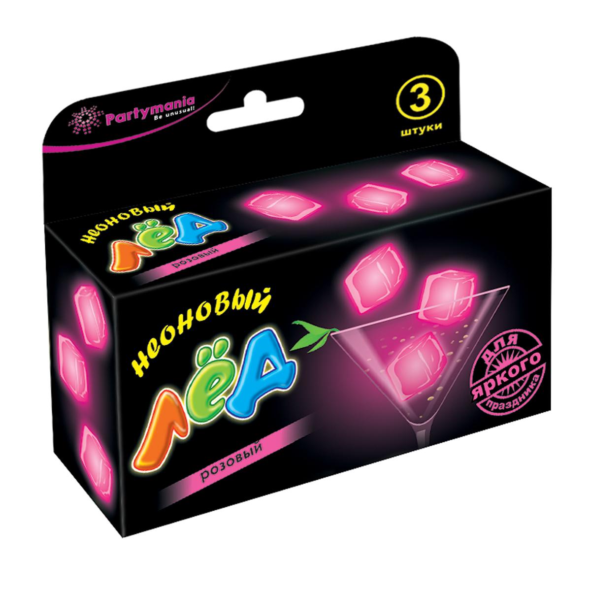 Partymania Изделие для праздников Неоновый ледT0111_розовыйИспользуется для украшения напитков. Придает оригинальный вид любому бокалу, стакану с помощью эффекта интенсивного неонового свечения. Изделие светится в течение 5-6 часов. Для достижения наилучшего цветового эффекта рекомендуется использовать изделие в темноте или при слабом освещении.