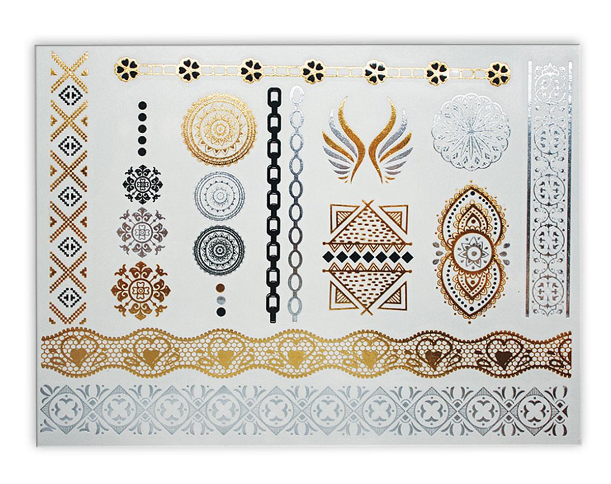 Partymania Тату для тела StyleT0812_10Набор золотых временных татуировок для тела. Легко наносятся, держатся на коже до 5 дней. Прекрасно дополнят новогодний или любой праздничный наряд. Дизайны в ассортименте (10 дизайнов). Размер 15 х 9 см.