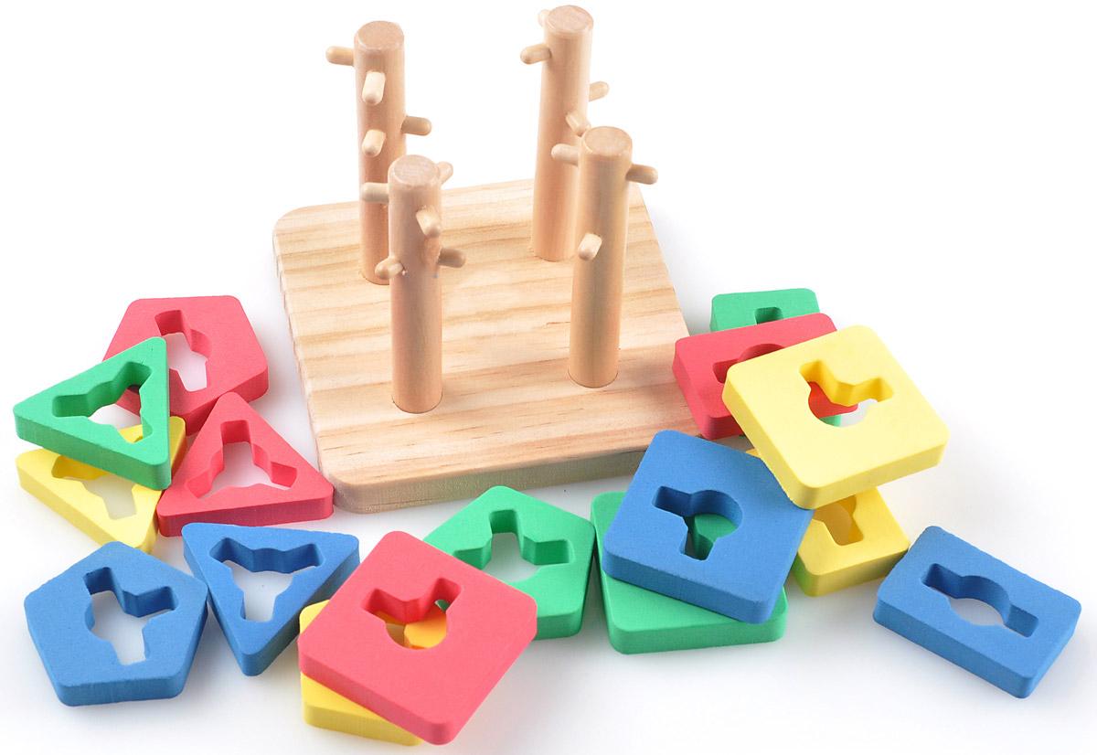 Мир деревянных игрушек Пирамидка Логический квадрат малыйД105Логический квадрат малый МДИ - отличная развивающая игрушка, которая поможет вашему крохе развить тактильные способности, пространственное мышление, логику, внимание, усидчивость, сформировать навыки распознавания цветов. Играя, ребенок познакомятся с некоторыми геометрическими фигурами, запомнит их названия. ОСОБЕННОСТИ ТОВАРА: игрушка состоит из основы со стержнями, на которые нанизываются части пирамидок детальки разные по форме (квадратные, прямоугольные, треугольные, пятиугольные) и цвету (розовые, голубые, зеленые, желтые) всего 16 элементов, которые надеваются на 4 стержня со штырьками основание и стержни покрыты безопасным лаком, все детали - нетоксичными красками разнообразных ярких цветов в результате у малыша должно получиться четыре пирамидки элементы игрушки очень качественно сделаны и хорошо обработаны, все углы сглажены, поверхности гладкие развивающий квадрат изготовлен из натурального дерева