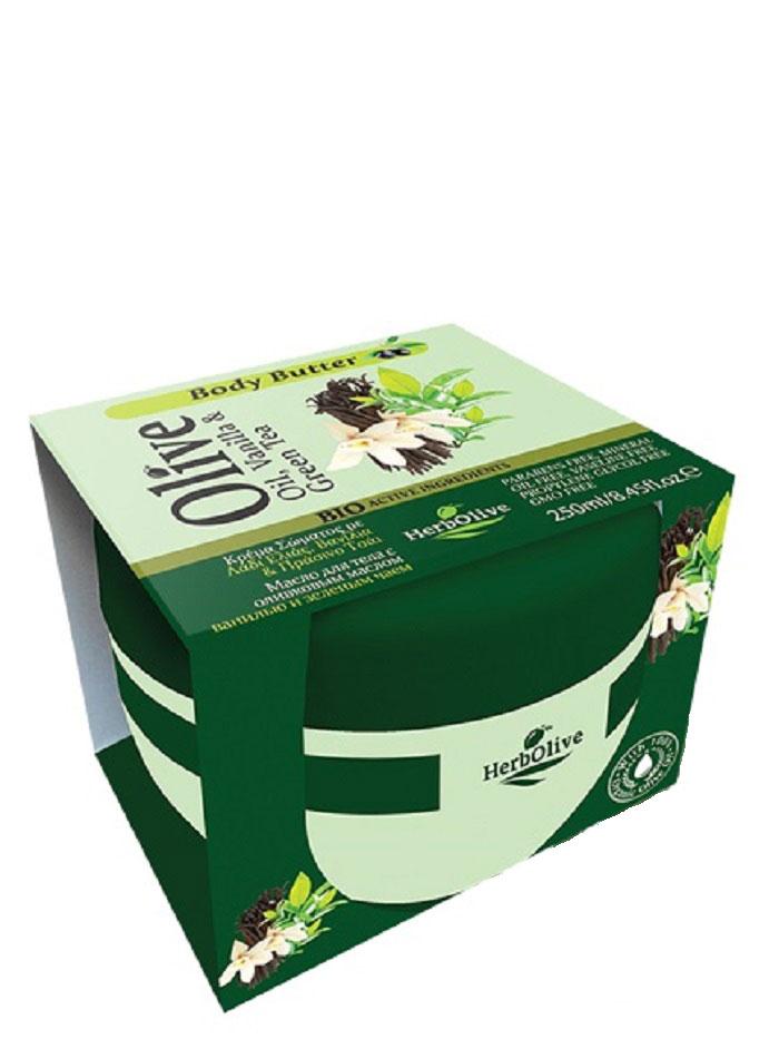HerbOlive Масло для тела с ванилью и зеленым чаем 250 мл5200310404160Твердое масло для тела с ванилью и экстрактом зеленого чая при соприкосновении с кожей нежно тает, питая, увлажняя и одаривая тело ароматом греческих масел и экстрактов. В составе органические экстракты растений: зеленый чай и ваниль, а также, ценные масла карите, оливы, миндаля, пантенол. Средство устраняет стянутость, шелушение, тонизирует кожу, хорошо впитывается, не оставляет ощущение жирности. Косметика произведена в Греции на основе органического сырья, НЕ СОДЕРЖИТ минеральные масла, вазелин, пропиленгликоль, парабены, генетически модифицированные продукты (ГМО)