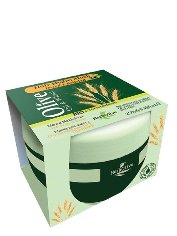 HerbOlive Маска для волос с пшеницей для сухих волос увлажнение и питание 250 мл5200310404313Маска подходит для всех типов волос. Натуральное оливковое масло и масло ростков пшеницы способствует питанию, восстановлению, росту волос, увлажняет, придает объем и эластичность. Маска делает волосы послушными в укладке, сильными и здоровыми, питает кожу головы и волосяные луковицы. Подходит для частого использования. Косметика произведена в Греции на основе органического сырья, НЕ СОДЕРЖИТ минеральные масла, вазелин, пропиленгликоль, парабены, генетически модифицированные продукты (ГМО)
