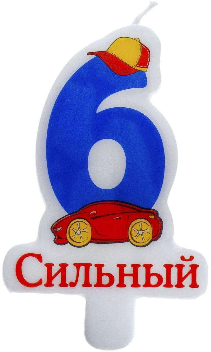 Sima-land Свечка в торт воск цифра 6 синяя 8х5 см 670642