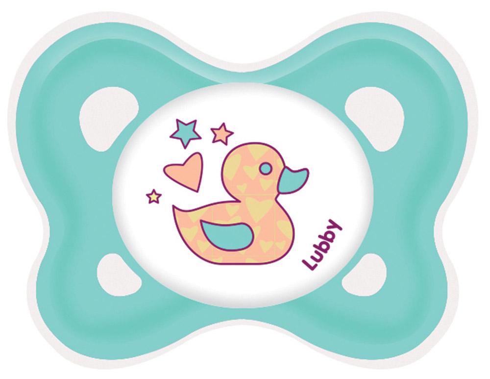 Lubby Пустышка силиконовая Кнопочка от 0 месяцев цвет бирюзовый ( 13654_бирюзовый )