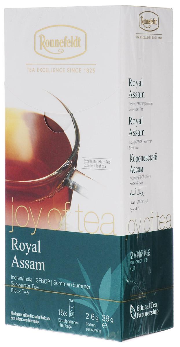 Ronnefeldt Joy of Tea Королевский Ассам черный чай в пакетиках, 15 шт23020Этот классический мелколистовой чай отличается большим количеством золотых типсов и пряным, выразительным солодовым вкусом, типичным для ассамских чаев. Оптимальная порция высококачественного листового чая в саше из экологичного, натурального материала. В этом саше чайные листья, произведенные традиционным методом, могут полностью раскрыться и передать напитку свой полный вкус.