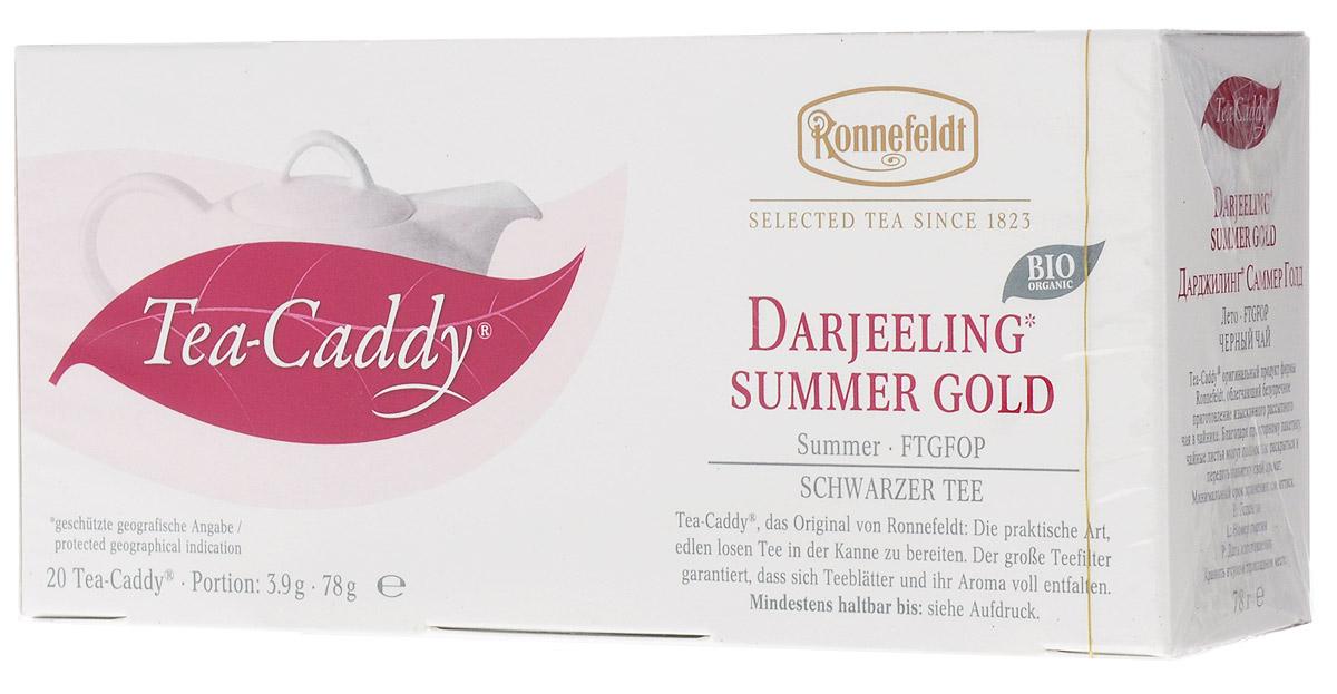 Ronnefeldt Дарджилинг Саммер Голд черный чай в пакетиках для чайника, 20 шт13030Этот знаменитый летний урожай отличается элегантным цветочным вкусом и несравненно гармоничным ароматом. Чай по качеству и вкусу соответствует листовому чаю - ведь это и есть листовой чай, но уже порционированный для чайника. Чайные листья находятся в индивидуальном просторном пакетике, где они могут полностью раскрыться и превратить напиток в истинное наслаждение.