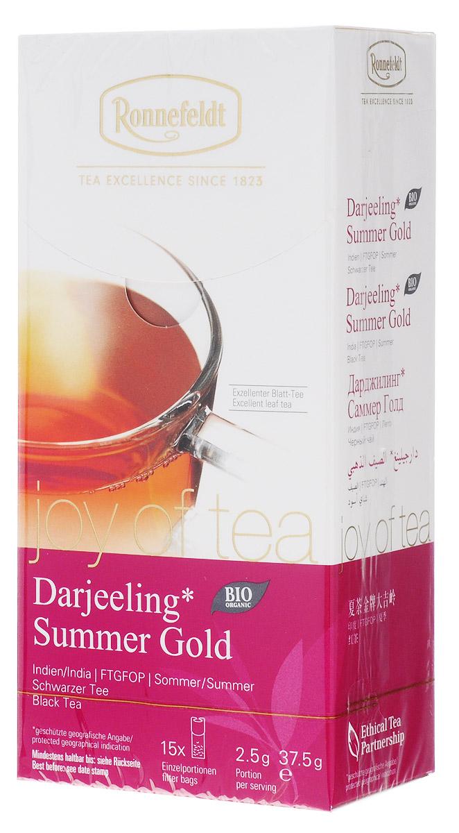 Ronnefeldt Joy of Tea Дарджилинг Саммер Голд черный чай в пакетиках, 15 шт23010Элегантный чай с восхитительным ароматом, напоминающим мускатное вино – превосходный летний урожай для любителей чая, предпочитающих более крепкий вкус. Оптимальная порция высококачественного листового чая в саше из экологичного, натурального материала. В этом саше чайные листья, произведенные традиционным методом, полностью раскрываются и передают напитку свой полный вкус.