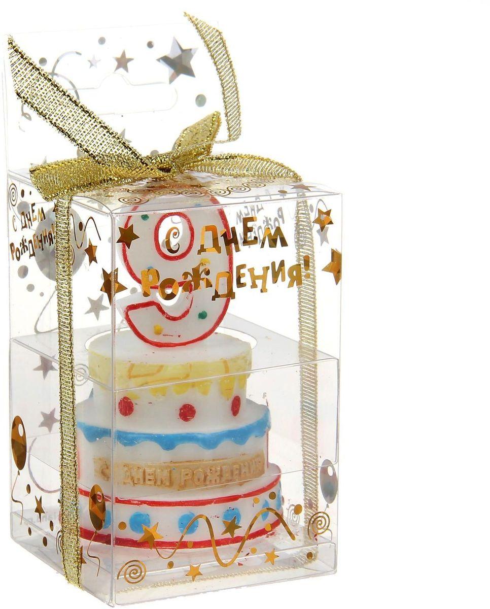 Sima-land Свеча-цифра в форме торта 9 4, 8 х 7 5 см 899549