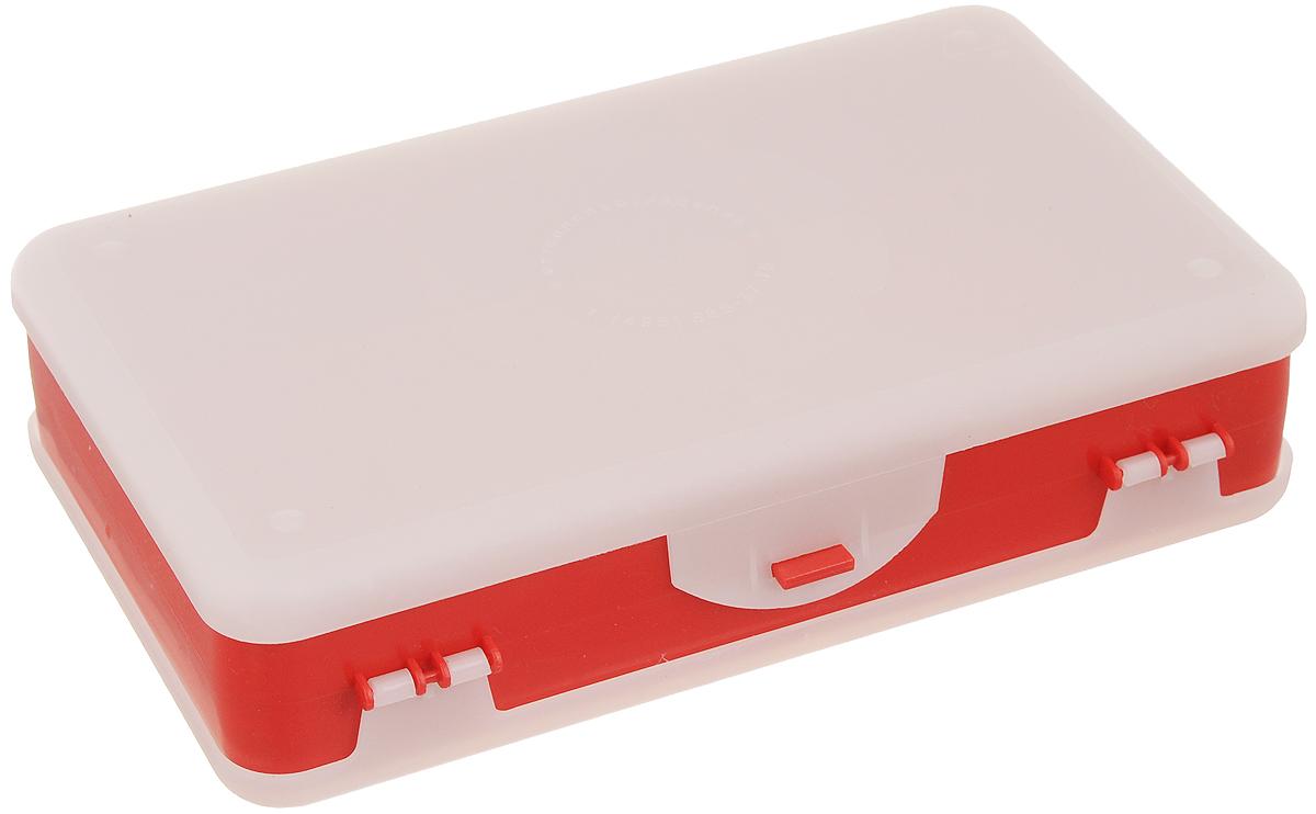 Шкатулка для мелочей Айрис, двухсторонняя, цвет: светло-серый, красный, 21,5 х 12,5 х 5 см. 533758533758_светло-серый,красныйШкатулка для мелочей изготовлена из пластика. Шкатулка двухсторонняя, поэтому в ней можно хранить больше мелочей. Подходит для швейных принадлежностей, рыболовных снастей, мелких деталей и других бытовых мелочей. В одном отделении 4 секции, в другом - 5. Удобный и надежный замок-защелка обеспечивает надежное закрывание крышек. Изделие легко моется и чистится. Такая шкатулка поможет держать вещи в порядке. Размер самой большой секции: 21 х 6 х 2,3 см. Размер самой маленькой секции: 13 х 2,3 х 2,3 см.