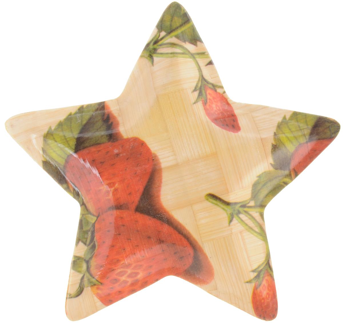 Тарелка Wanxie Звезда, цвет: бежевый, красный, зеленый, 13,5 x 13,5 x 1 смWH-701S_бежевый, красный, зеленыйТарелка Wanxie Звезда изготовлена из бамбука в виде звезды. Блюдо прекрасно подходит для того, чтобы подавать небольшие кусочки фруктов, ягоды и многое другое. Невероятно легкое, но в то же время крепкое и экологически чистое блюдо - незаменимый и очень полезный аксессуар на кухне, а благодаря нежной расцветке подойдет к любому интерьеру. Посуда из бамбука - интересное решение для создания эксклюзивных и стильных кухонных интерьеров. Бамбук экологичен и безопасен для здоровья, не боится влаги, устойчив к перепадам температуры. Несмотря на легкость и изящество, изделие прочно и долговечно. Посуда из бамбука проста в уходе и красива. Размер тарелки по верхнему краю: 13,5 х 13,5 см.