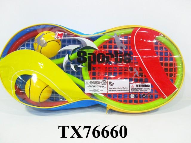 Набор для игры в теннис King Sport. TX7666028261294Комплектность: 2 ракетки (43х19см.), 2 мяча (ф 6,2 см.). Назначение: для игры в теннис. Материал: полистирол, полиэтилен, полиуретан.