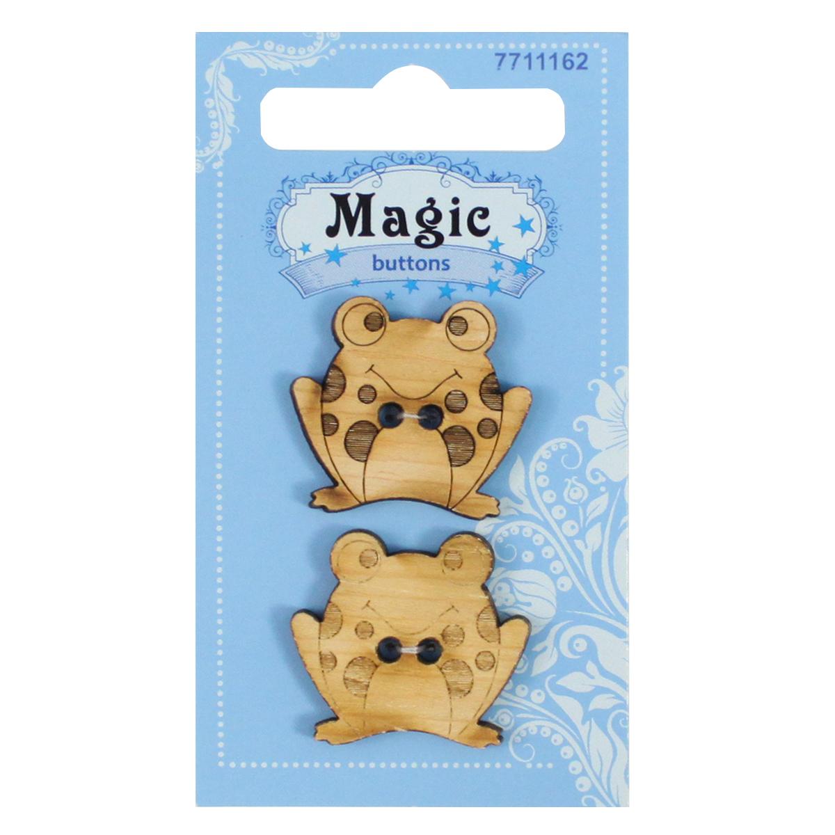 Пуговицы декоративные Magic Buttons Лягушка, 2 шт7711162Пуговицы бренда Magic Buttons восхищают разнообразием стилей. Они станут отличным дополнением в качестве завершающего штриха на одежде, кроме того их можно использовать в скрапбукинге, создавать с помощью них интересные открытки, подарочные конверты и многое, многое другое.