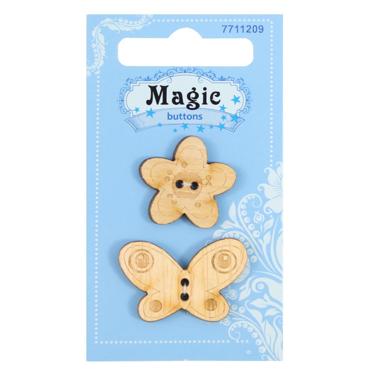Пуговицы декоративные Magic Buttons Бабочка и цветок, 2 шт7711209Пуговицы бренда Magic Buttons восхищают разнообразием стилей. Они станут отличным дополнением в качестве завершающего штриха на одежде, кроме того их можно использовать в скрапбукинге, создавать с помощью них интересные открытки, подарочные конверты и многое, многое другое.