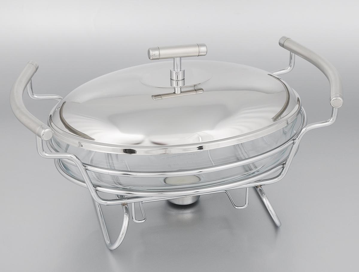 Мармит Mayer & Boch, со свечой, 1,5 л24150Мармит Mayer & Boch, изготовленный из стекла и нержавеющей стали, позволит вам довольно длительное время сохранять температуру блюда и создаст романтическую обстановку. Мармит предназначен для приготовления блюд в духовке и микроволновой печи. Благодаря красивому дизайну мармит можно сразу подавать на стол, не перекладывая блюдо на сервировочные тарелки. Его действие основано на принципе водяной бани. Под емкостью установлена 1 свеча (входит в комплект), которая, в свою очередь, нагревает продукты. Таким образом, данное кухонное приспособление - превосходный способ не дать блюду остыть. При этом пища не пригорает, не пересыхает, сохраняет все свои питательные и вкусовые качества. Стеклянное блюдо можно использовать в микроволновой печи и духовке. Можно мыть в посудомоечной машине и ставить в холодильник. Размер блюда (по верхнему краю): 26 х 18 см. Ширина мармита (с учетом ручек): 33 см. Высота мармита: 14,5 см. ...