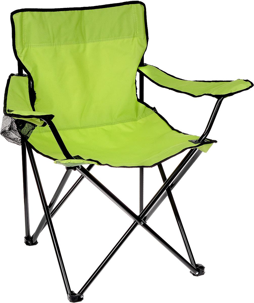 Кресло складное Wildman, с подлокотником, цвет: салатовый, черный, 77 х 50 х 80 см81-446На складном кресле Wildman можно удобно расположиться в тени деревьев, отдохнуть в приятной прохладе летнего вечера. В использовании такое кресло достойно самых лучших похвал. Кресло выполнено из прочной ткани оксфорд, каркас стальной. Кресло оснащено удобными подлокотниками, в одном из них расположен подстаканник. В сложенном виде кресло удобно для хранения и переноски. В комплекте чехол для переноски и хранения.