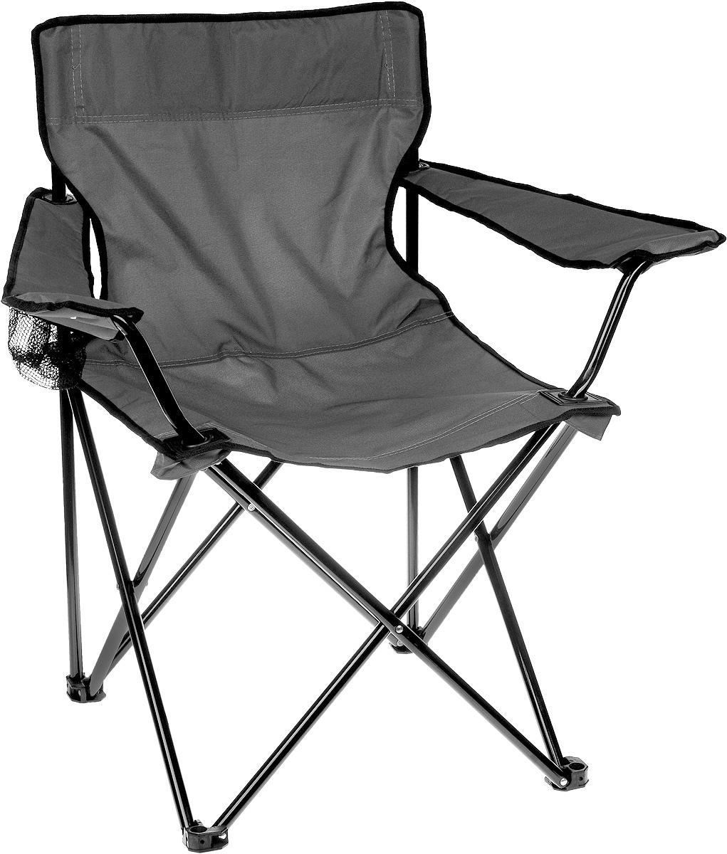 Кресло складное Wildman, с подлокотником, цвет: серый, черный, 77 х 50 х 80 см81-446_серый/чёрныйНа складном кресле Wildman можно удобно расположиться в тени деревьев, отдохнуть в приятной прохладе летнего вечера. В использовании такое кресло достойно самых лучших похвал. Кресло выполнено из прочной ткани оксфорд, каркас стальной. Кресло оснащено удобными подлокотниками, в одном из них расположен подстаканник. В сложенном виде кресло удобно для хранения и переноски. В комплекте чехол для переноски и хранения. Максимальная нагрузка: 100 кг.