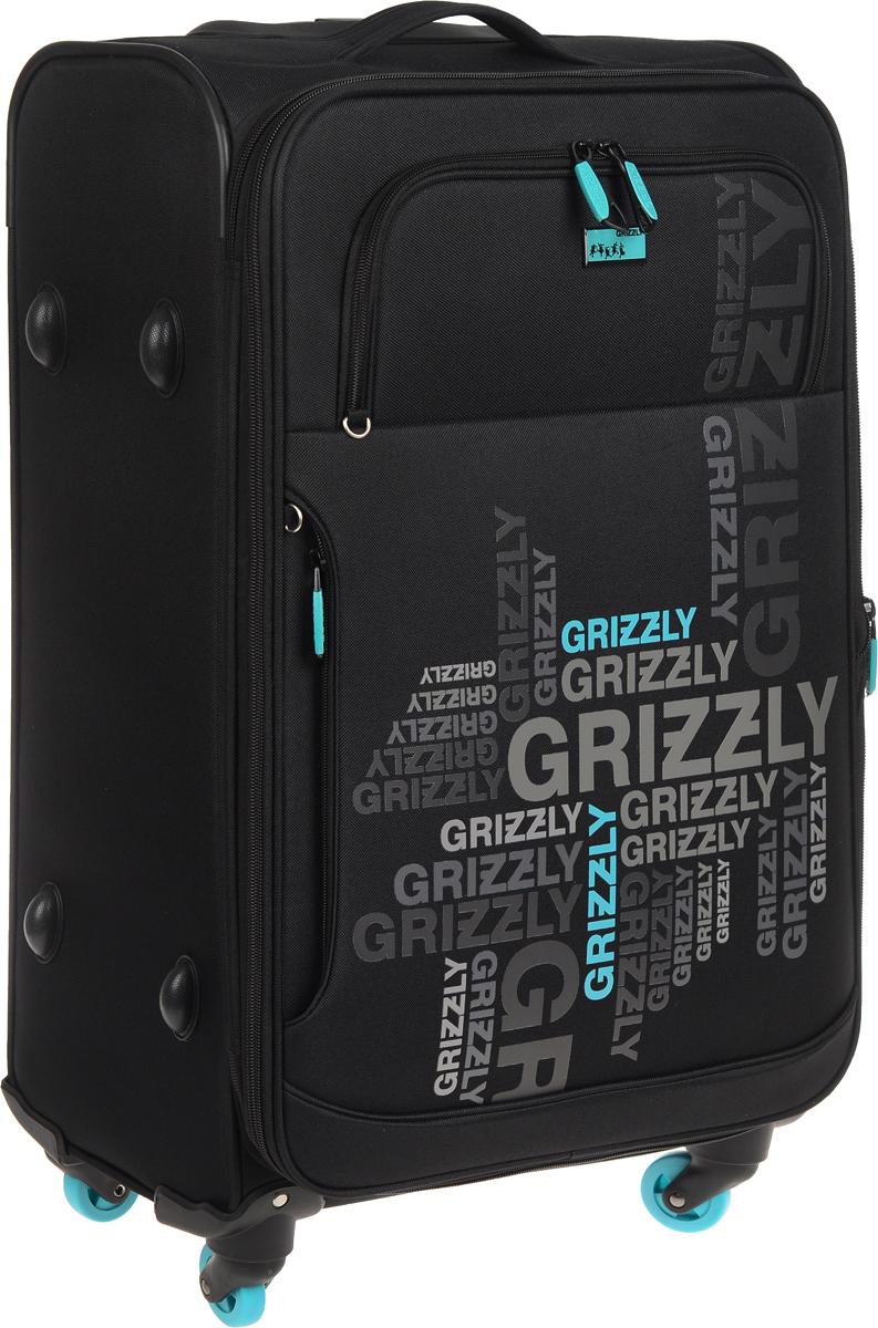 Чемодан Grizzly, цвет: черный, бирюза, 60 л. LT-590-24/2LT-590-24/2Суперлегкий чемодан Grizzly на четырех колесах идеально подходит для поездок и путешествий. Изделие изготовлено из плотного полиэстера. Чемодан имеет одно трансформирующееся основное отделение для хранения одежды и аксессуаров, которое закрывается на застежку-молнию с двумя бегунками. Внутри содержится вшитый карман на молнии, а также регулируемые фиксирующие стропы на фастексах. На внешней стороне крышки чемодана расположены два объемных кармана. Чемодан оснащен удобной телескопической ручкой, которая выдвигается нажатием на кнопку. Главное отделение имеет кодовый замок, который крепится к бегункам. В комплект входит водонепроницаемый несессер. Стильный и удобный чемодан Grizzly вместит все необходимые вещи и станет незаменимым аксессуаром во время поездок. Высота выдвижной ручки: 27 см.