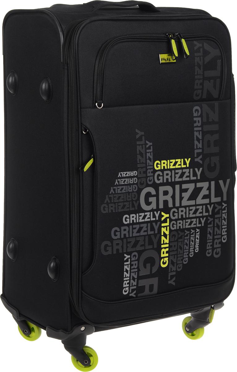 Чемодан Grizzly, цвет: черный, зеленый, 60 л. LT-590-24/3