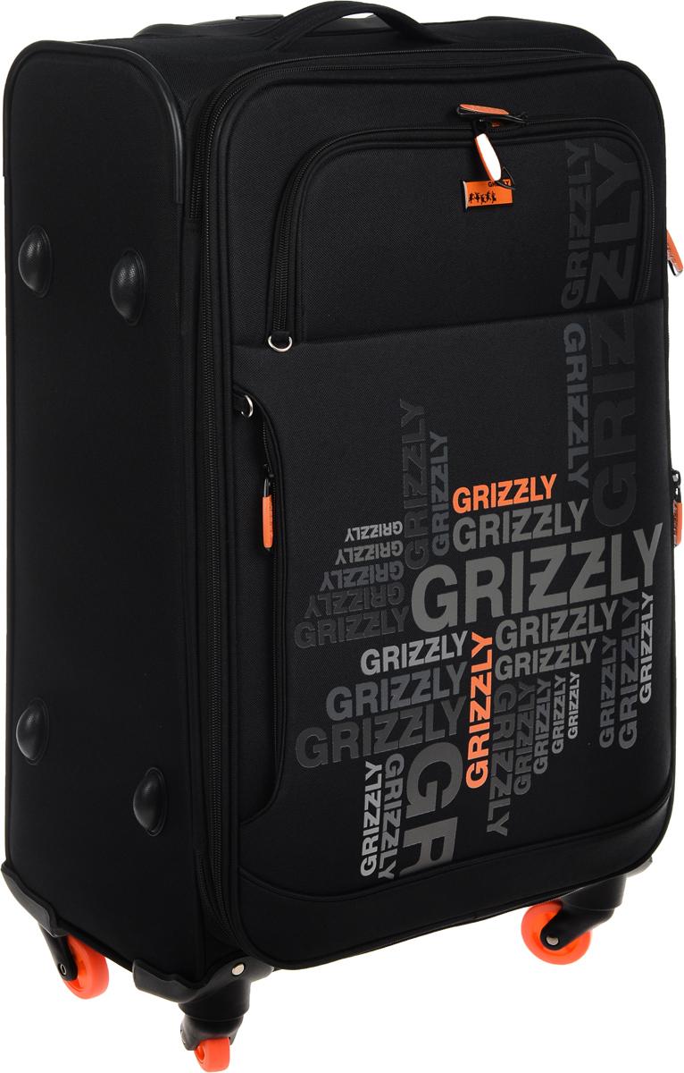 Чемодан Grizzly, цвет: черный, оранжевый, 60 л. LT-590-24/1LT-590-24/1Суперлегкий чемодан Grizzly на четырех колесах идеально подходит для поездок и путешествий. Изделие изготовлено из плотного полиэстера. Чемодан имеет одно трансформирующееся основное отделение для хранения одежды и аксессуаров, которое закрывается на застежку-молнию с двумя бегунками. Внутри содержится вшитый карман на молнии, а также регулируемые фиксирующие стропы на фастексах. На внешней стороне крышки чемодана расположены два объемных кармана. Чемодан оснащен удобной телескопической ручкой, которая выдвигается нажатием на кнопку. Главное отделение имеет кодовый замок, который крепится к бегункам. В комплект входит водонепроницаемый несессер. Стильный и удобный чемодан Grizzly вместит все необходимые вещи и станет незаменимым аксессуаром во время поездок. Высота выдвижной ручки: 27 см.