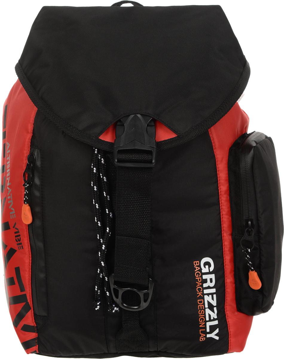 Рюкзак городской Grizzly, цвет: черный, красный, 16 л. RU-615-1/4RU-615-1/4Стильный рюкзак Grizzly выполнен из полиэстера и таслана, оформлен оригинальным принтом и символикой бренда. Рюкзак содержит одно вместительное отделения, которое закрывается затягивающимся шнуром. Внутри отделения есть карман на застежке-молнии. Снаружи, сбоку изделия, расположен объемный карман. Лицевая сторона изделия дополнена двумя врезным карманами на молнии. Верх рюкзака соединяется с основной частью с помощью фастекса. Рюкзак оснащен ортопедический спинкой, петлей для подвешивания, двумя практичными лямками регулируемой длины. Практичный рюкзак станет незаменимым аксессуаром и вместит в себя все необходимое.
