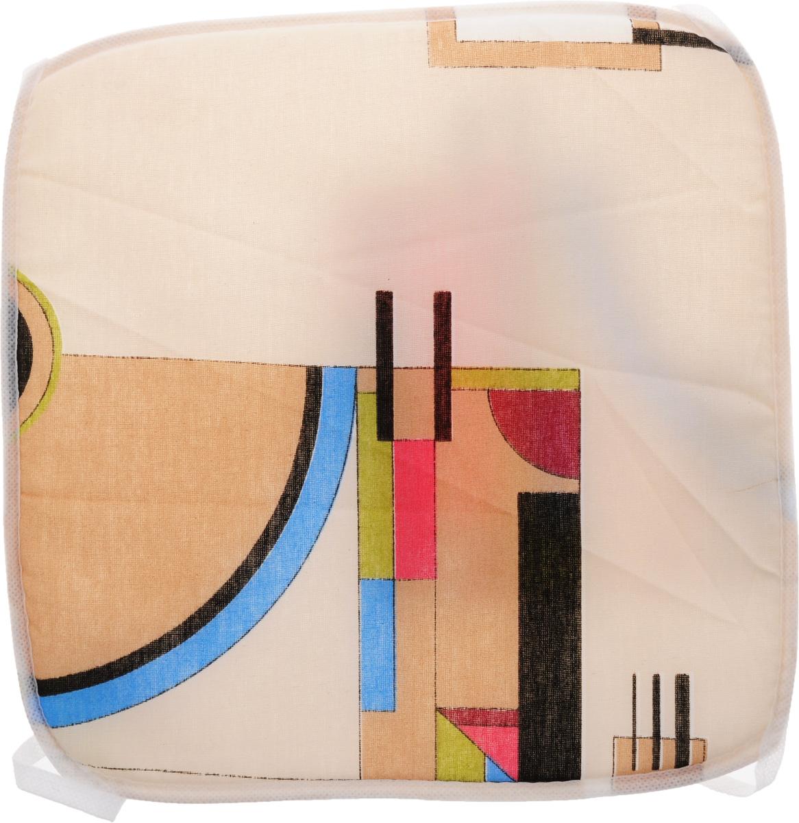 Подушка на стул Eva Геометрия, цвет: белый, светло-бежевый, 34 х 34 см. Е06Е06_вид 2Подушка на стул Eva Геометрия, выполненная из хлопка с наполнителем из поролона, легко крепится на стул с помощью завязок. Рекомендации по уходу: - деликатная стирка при температуре воды до 30°С. - отбеливание, барабанная сушка, химчистка запрещены. - рекомендуется глажка при температуре подошвы утюга до 110°С.