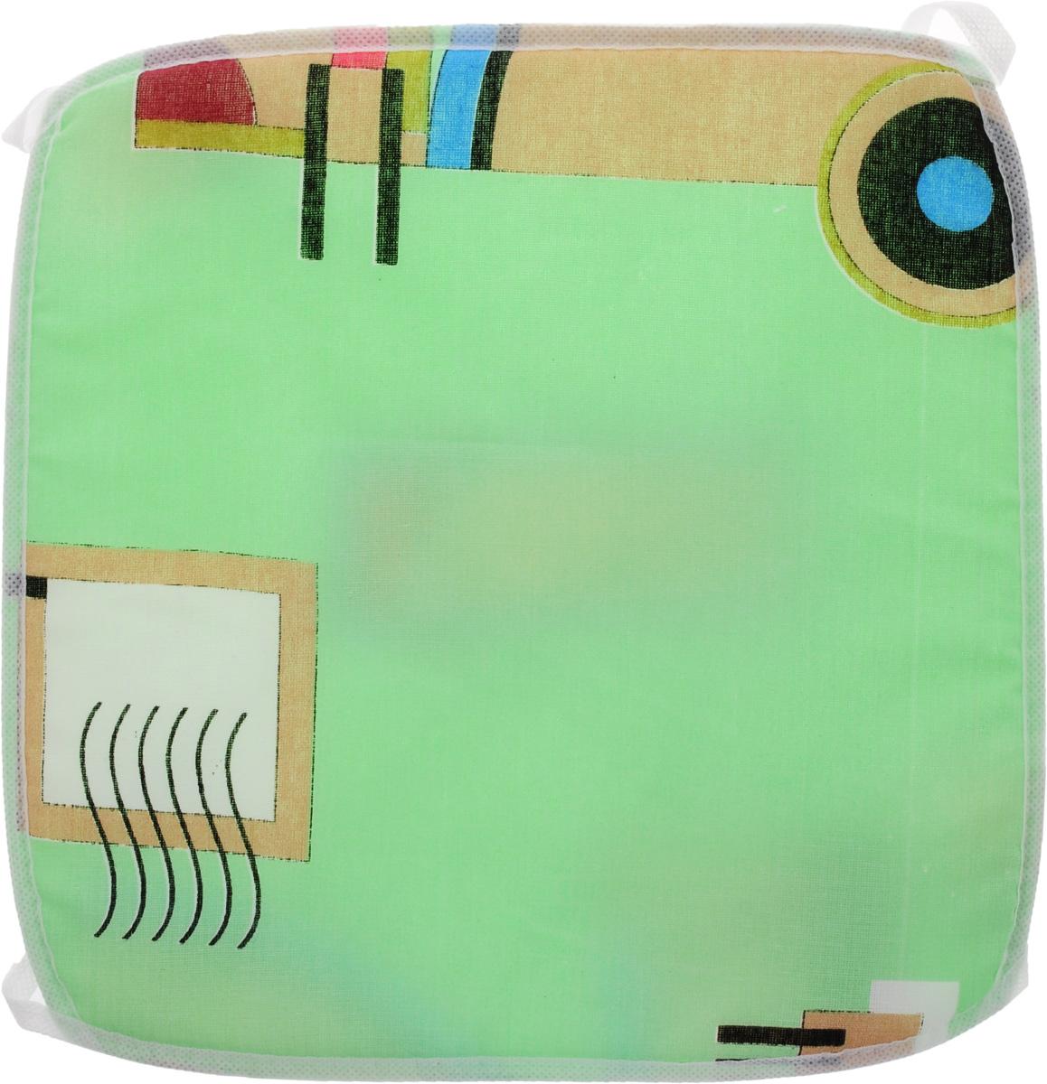 Подушка на стул Eva Геометрия, цвет: белый, светло-зеленый, 34 х 34 см. Е06Е06_зеленый, геометрияПодушка на стул Eva Геометрия, выполненная из хлопка с наполнителем из поролона, легко крепится на стул с помощью завязок. Рекомендации по уходу: - деликатная стирка при температуре воды до 30°С. - отбеливание, барабанная сушка, химчистка запрещены. - рекомендуется глажка при температуре подошвы утюга до 110°С.