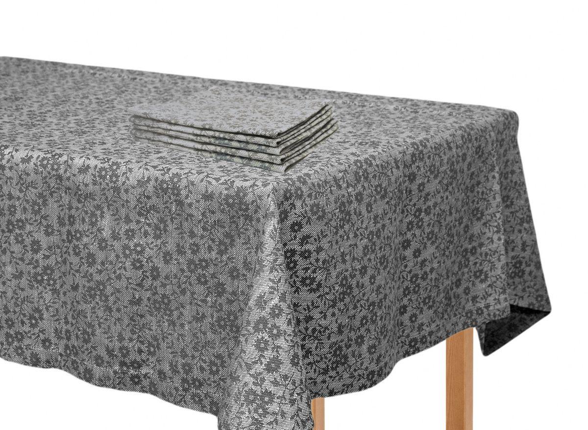 Комплект столового белья Moderna Ромашка темная, цвет: серый, черный, 5 предметовPC-c-d-90х90