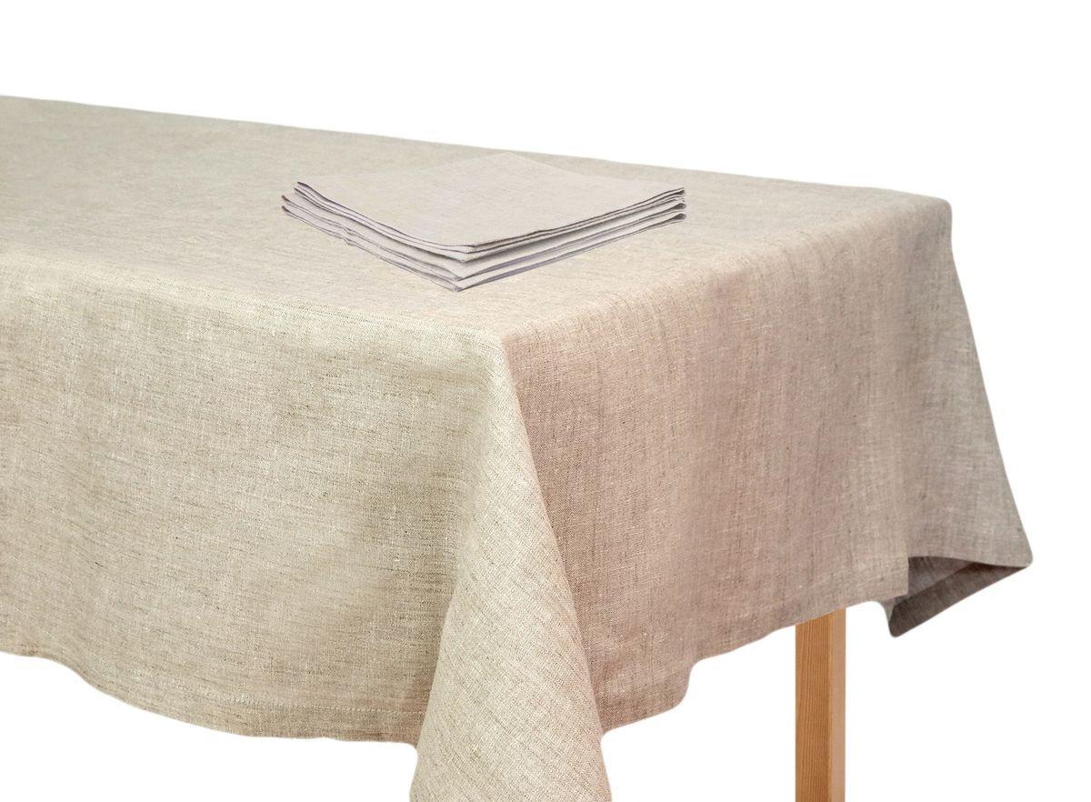 Комплект столового белья Moderna Лен полувареный, цвет: бежевый, 5 предметовTC-nr-90х90