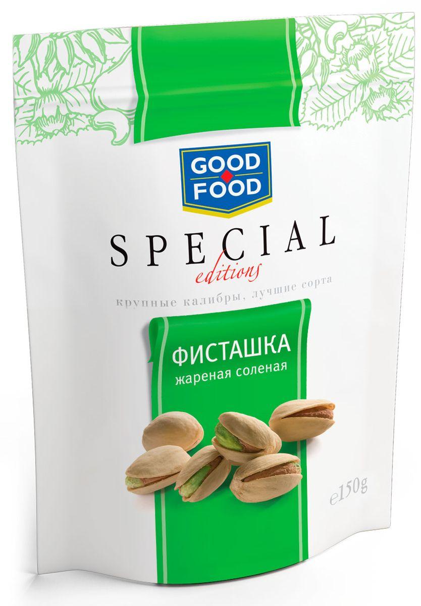 Good Food Special фисташки жареные соленые, 150 г4620000671947Фисташки Good Food Special - это отборные орехи самых крупных размеров премиального качества. Фисташки - невероятно полезны: десять орешков в день наделяют взрослого человека четвертью нормы витамина В6.