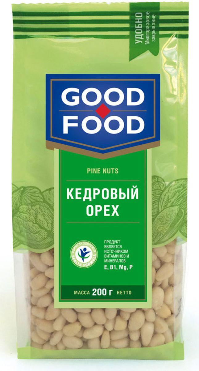 Good Food кедровый орех, 200 г4620000677161Кедровый орех не только вкусный, но и исключительно полезный продукт для здоровья человека. Кедровый орех не содержит холестерина, отличается повышенным содержанием белка - до 44% (в 12 раз больше, чем в курином мясе). Врачи рекомендуют употреблять в пищу кедровые орешки вегетарианцам, чтобы компенсировать белковый голод. В этом орехи содержатся практически все незаменимые аминокислоты, также кедровый орех отличается высоким содержанием антиоксидантов, предотвращающих старение организма.
