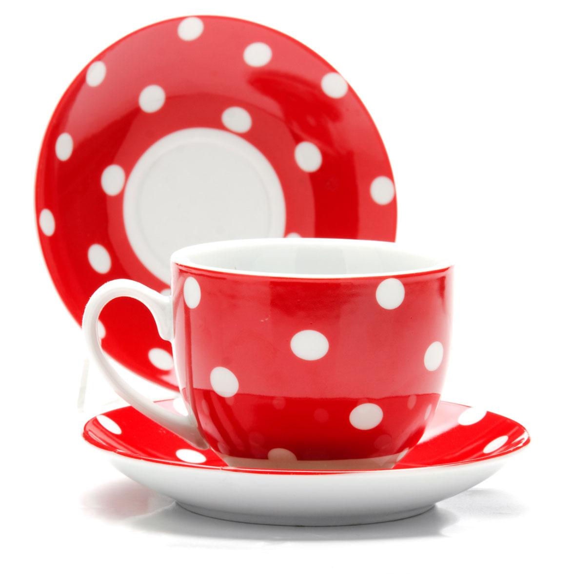 Набор чайный Loraine, цвет: белый, красный, 12 предметов. 2590425904Чайный набор Loraine состоит из 6 чашек и 6 блюдец. Изделия выполнены из высококачественного костяного фарфора и оформлены принтом в горошек. Такой набор изящно дополнит сервировку стола к чаепитию. Благодаря оригинальному дизайну и качеству исполнения он станет замечательным подарком для ваших друзей и близких. Объем чашки: 240 мл. Диаметр чашки по верхнему краю: 8,5 см. Высота чашки: 7 см. Диаметр блюдца: 14 см. Высота блюдца: 2,2 см.