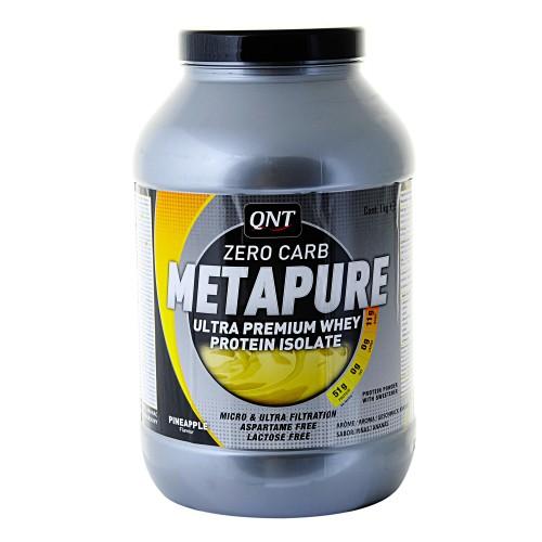 Изолят QNT METAPURE ZERO CARB, вкус: ананас, 1кгQNT0024Metapure Zero Carb изготовлен из изолята сывороточного протеина, самой чистой формы протеина существующей на рынке. Изолят состоит из простых аминокислот и из большого количества аминокислот с разветвленными боковыми цепями (ВСАА). Они являются наиболее важными для восстановления и роста мышц. QNT Metapure Zero Carb быстро и полностью растворяется в воде, без образования комочков или осадка. Это чистейший изолят без жиров, холестерина, лактозы и углеводов. Metapure Zero Carb абсорбируется и усваивается организмом быстрее любой белковой формулы. Whey Protein Isolate (Milk, Traces Of Soya), Flavour, Sweetener E955. Allergen Information: Milk, Traces Of Soya