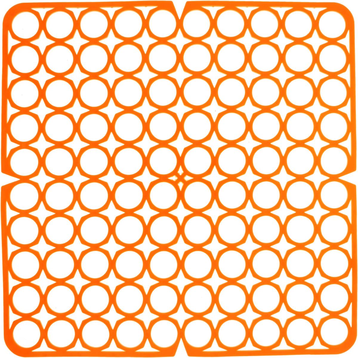 Коврик для раковины York, цвет: оранжевый, 27,5 х 27,5 см9561/095610_оранжевыйСтильный и удобный коврик для раковины York изготовлен из сложных полимеров. Он одновременно выполняет несколько функций: украшает, защищает мойку от царапин и сколов, смягчает удары при падении посуды в мойку. Коврик также можно использовать для сушки посуды, фруктов и овощей. Он легко очищается от грязи и жира.