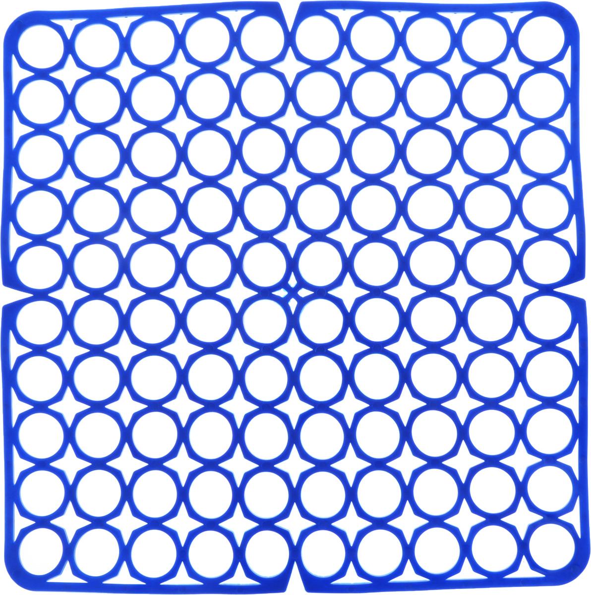 Коврик для раковины York, цвет: синий, 27,5 х 27,5 см9561/095610_синийСтильный и удобный коврик для раковины York изготовлен из сложных полимеров. Он одновременно выполняет несколько функций: украшает, защищает мойку от царапин и сколов, смягчает удары при падении посуды в мойку. Коврик также можно использовать для сушки посуды, фруктов и овощей. Он легко очищается от грязи и жира.