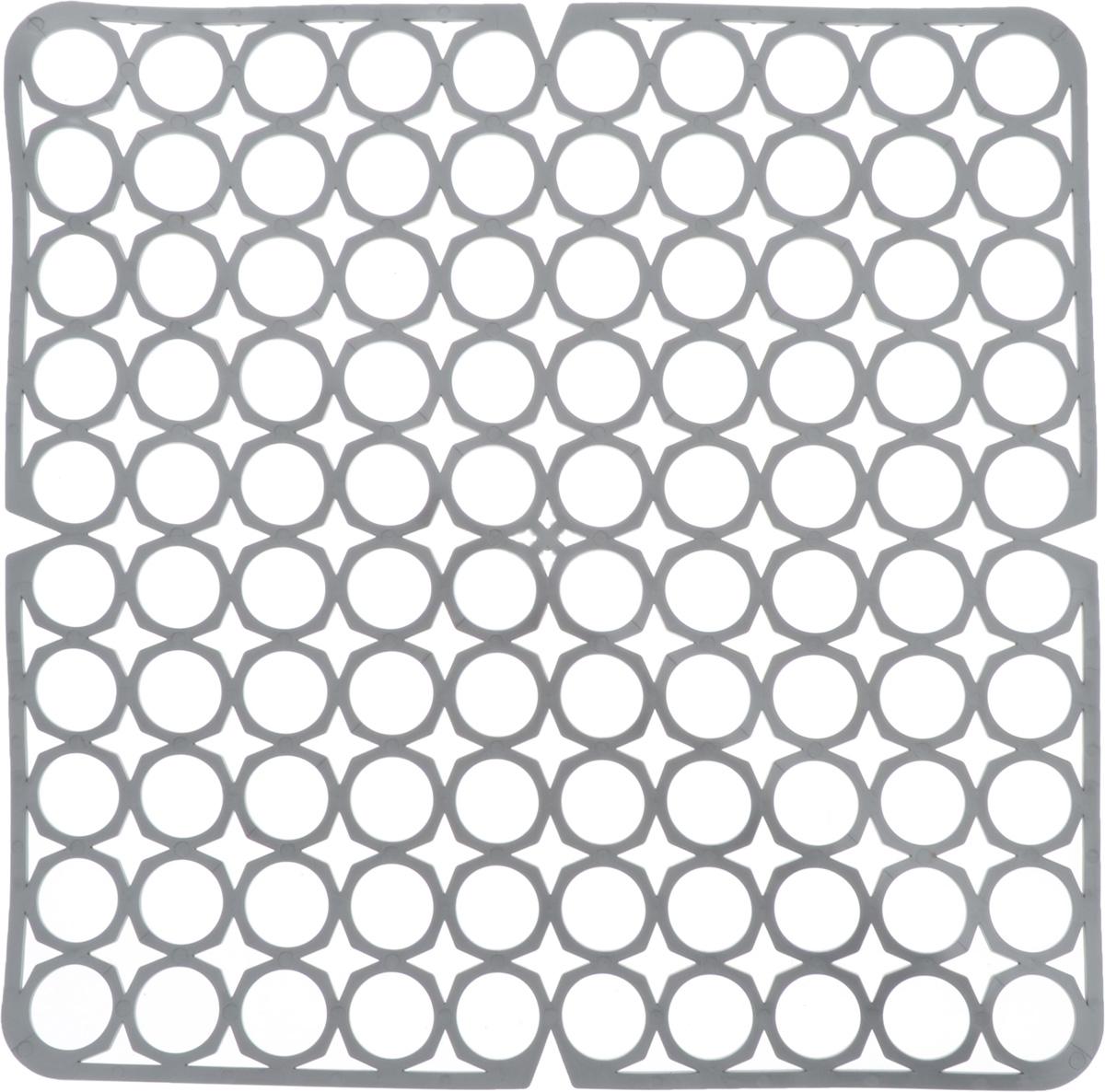 Коврик для раковины York, цвет: серый, 27,5 х 27,5 см9561/095610_серыйСтильный и удобный коврик для раковины York изготовлен из сложных полимеров. Он одновременно выполняет несколько функций: украшает, защищает мойку от царапин и сколов, смягчает удары при падении посуды в мойку. Коврик также можно использовать для сушки посуды, фруктов и овощей. Он легко очищается от грязи и жира.