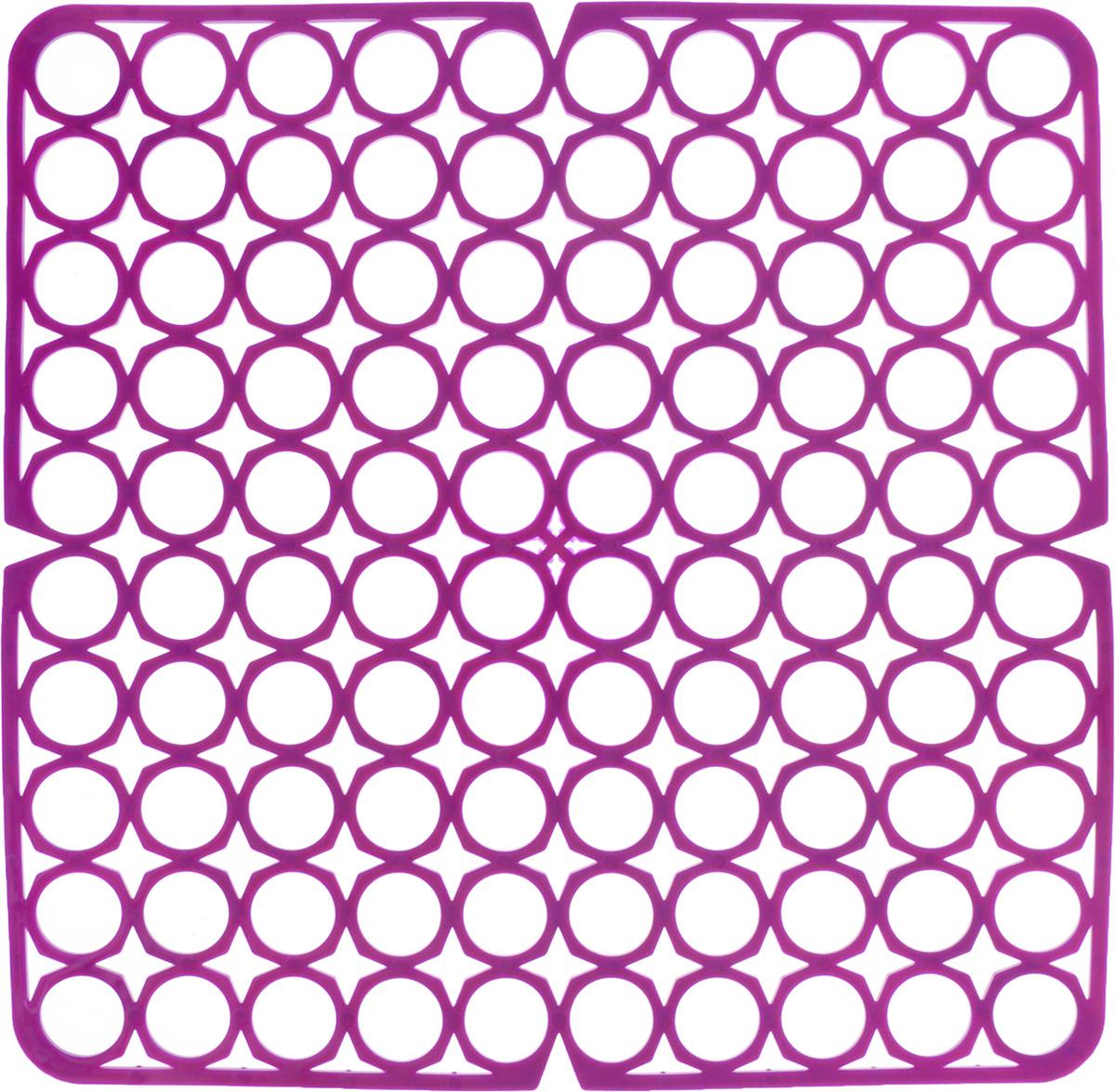 Коврик для раковины York, цвет: фиолетовый, 27,5 х 27,5 см9561/095610_фиолетовыйСтильный и удобный коврик для раковины York изготовлен из сложных полимеров. Он одновременно выполняет несколько функций: украшает, защищает мойку от царапин и сколов, смягчает удары при падении посуды в мойку. Коврик также можно использовать для сушки посуды, фруктов и овощей. Он легко очищается от грязи и жира.