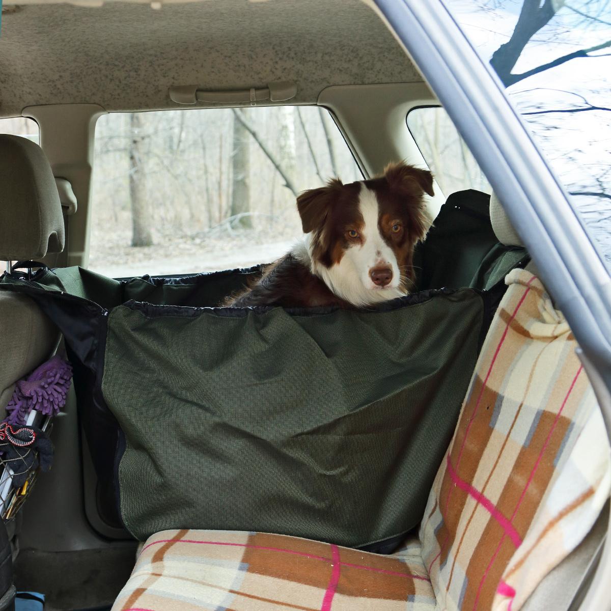 Автогамак для собак OSSO Fashion Car Premium, 135 x 50 смГ-1010Автогамак OSSO Fashion Car Premium представляет собой функциональное приспособление для перевозки собак в салоне машины. Этот автогамак идеально подойдет для транспортировки питомца на заднем сиденье, защитит его от царапин и грязи. Незаменим при транспортировке животного после прогулок на природе, поездки в ветклинику, на выставку, охоту, рыбалку и дачу, не опасаясь испачкать или поцарапать сидения и обивку дверей. Изготовлен из прочной, дублированной, водостойкой и морозоустойчивой ткани на подкладке. Конструкция гамака предохраняет питомца от соскальзывания и передвижения по салону во время движения и резкого торможения. Чистка такого гамака не составляет никакого труда: просто стряхните засохшую грязь и песок щеткой, а затем протрите поверхность влажной губкой или тряпкой. Изделие крепится к подголовникам переднего и заднего сидений с помощью молний с замками автомат. Стелется по спинке заднего сидения, по заднему сидению и идет вверх к переднему...