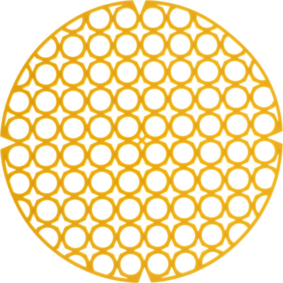 Коврик для раковины York, цвет: желтый, диаметр 27,5 см9560/095600_желтыйСтильный и удобный коврик для раковины York изготовлен из сложных полимеров. Он одновременно выполняет несколько функций: украшает, защищает мойку от царапин и сколов, смягчает удары при падении посуды в мойку. Коврик также можно использовать для сушки посуды, фруктов и овощей. Он легко очищается от грязи и жира. Диаметр: 27,5 см.