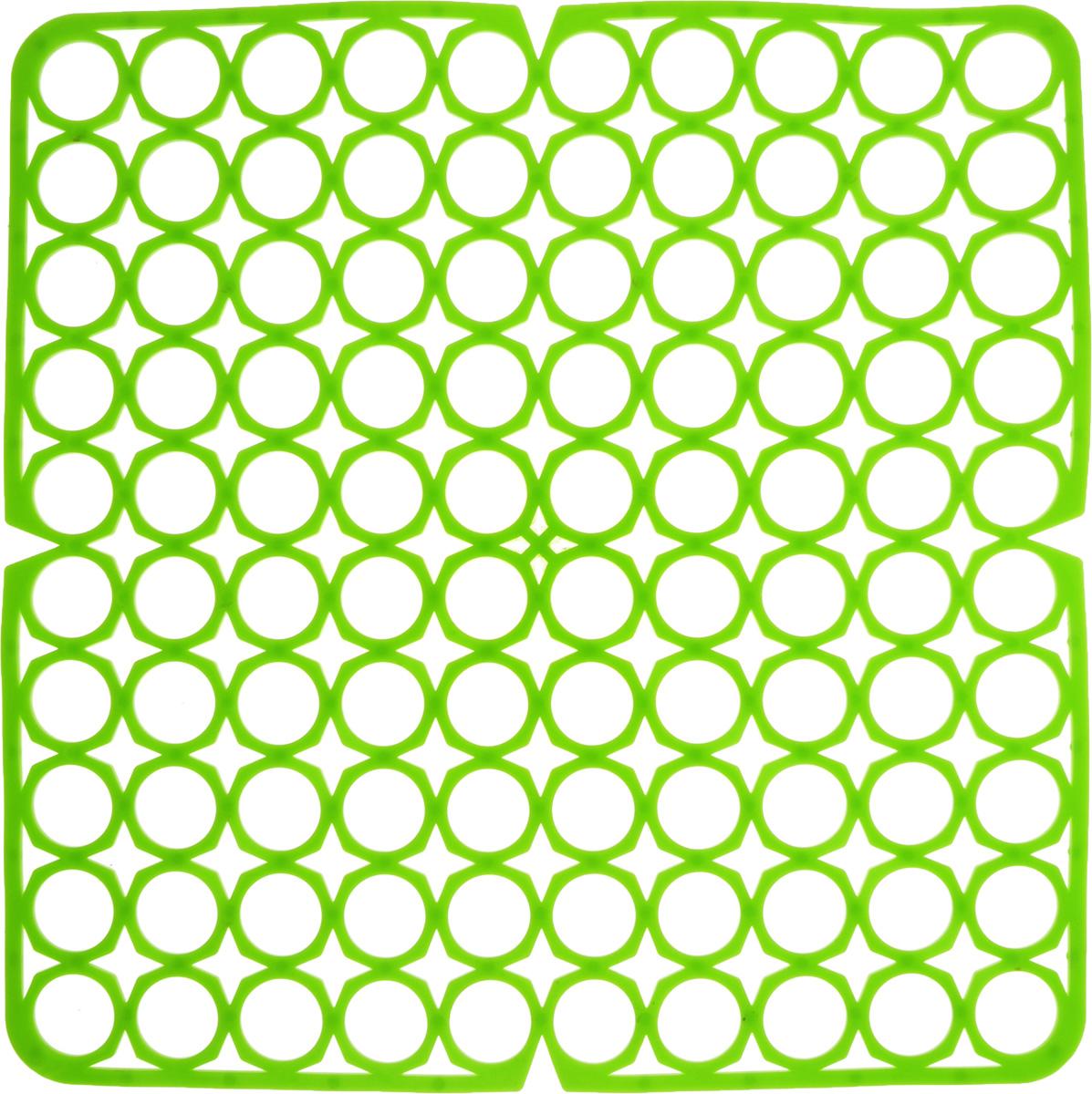 Коврик для раковины York, цвет: салатовый, 27,5 х 27,5 см9561/095610_салатовыйСтильный и удобный коврик для раковины York изготовлен из сложных полимеров. Он одновременно выполняет несколько функций: украшает, защищает мойку от царапин и сколов, смягчает удары при падении посуды в мойку. Коврик также можно использовать для сушки посуды, фруктов и овощей. Он легко очищается от грязи и жира.