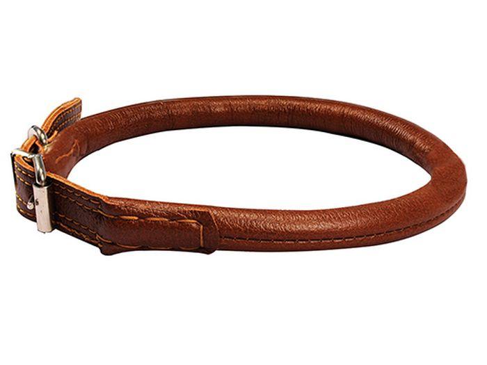 Ошейник Каскад Элита, круглый шов наружу ширина 1,4 см, диаметр 55-63 см, цвет: коричневый00000043кОшейник кожаный Элита круглый коричневый шов наружу O 14 мм обхват шеи 55-63 см