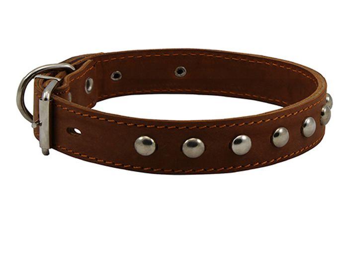 Ошейник для собак Каскад, двойной с украшением, ширина 1,2 см, диаметр 20-24 см, цвет: коричневый00012103кОшейник кожаный двойной коричневый с украшением ширина 12 мм, обхват шеи от 20 до 24см