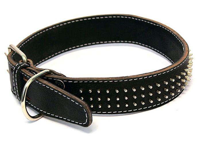 Ошейник для собак Каскад, двойной с шипами-еж, ширина 2,5 см, диаметр 39-46 см, цвет: черный00025114чОшейник кожаный двойной черный с шипами-ёж 25 мм обхв.шеи 39-46см