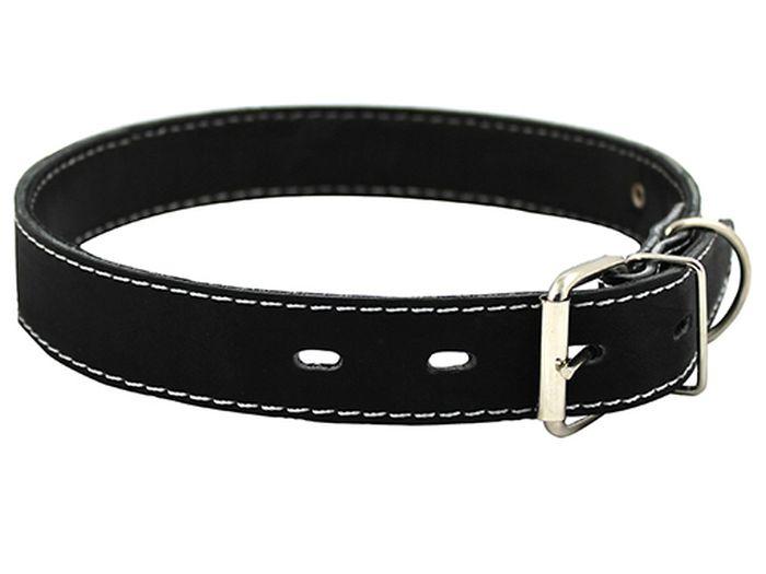 Ошейник для собак Каскад, с синтепоном ширина 3 см, диаметр 44-53 см, цвет: черный00030012чОшейник кожаный черный с синтепоном ширина 30 мм, обхват шеи от 44 до 53 см