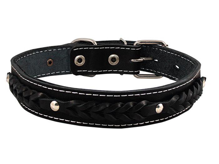 Ошейник для собак Каскад, с косицей и синтепоном, ширина 3,5 см, диаметр 50-59 см, цвет: черный00035071чОшейник кожаный черный с косицей с синтепоном ширина 35 мм, обхват шеи от 50 до 59 см.