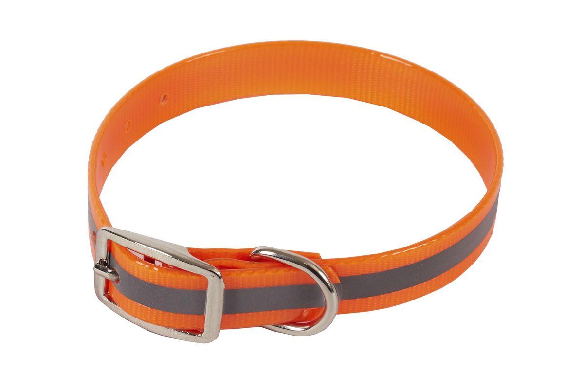 Ошейник из биотана Каскад Синтетик, со светоотражающей полосой, цвет: оранжевый, ширина 15 мм, обхват шеи 21-30 см00215302-03