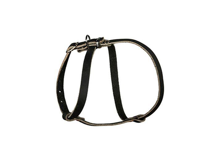Шлейка для собак Каскад Восьмерка, малая, ширина 1,5 см, цвет: черный01015201чШлейка кожаная черная Восьмерка малая для собак ширина 15 мм шея 26-33 см, грудь 33-45 см