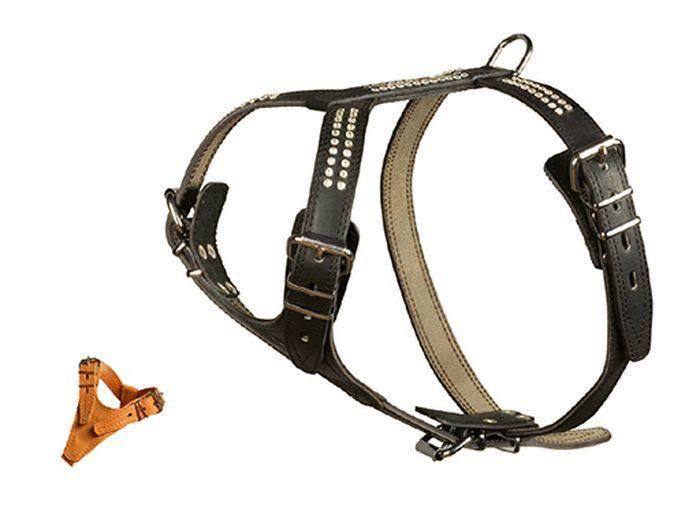 Шлейка Каскад Элита двойная со стразами ширина 2,5 см, цвет: коричневый01025004кШлейка кожаная Элита двойная со стразами шир.25 мм грудь 69-77 см шея 44-60 см