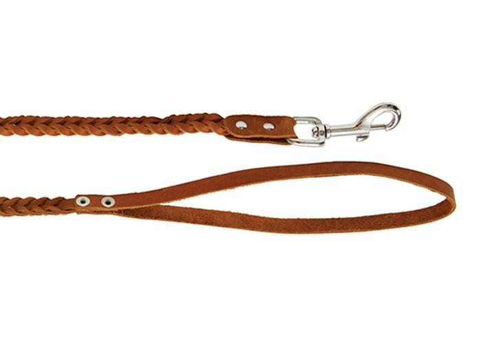 Поводок для собак Каскад плетеный, ширина 1 см, длина 125 см, цвет: коричневый02010021кПоводок кожаный коричневый плетеный ширина 10 мм, длина 1.25 м.