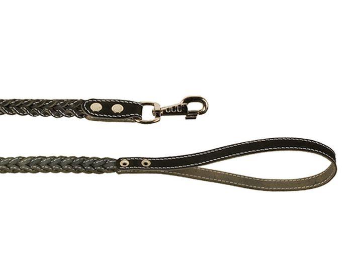 Поводок для собак Каскад, плетеный с прошивкой, ширина 1,5 см, длина 125 см, цвет: черный02015021чПоводок кожаный черный плетеный с прошивкой ширина 15 мм, длина 1.25 м.